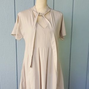 MARNI taupe cotton fit and flare dress EU size 42